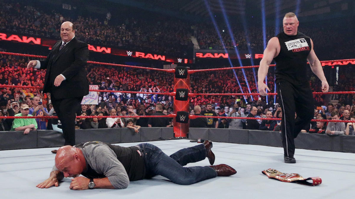 Lesnar drops Goldberg with an F-5!