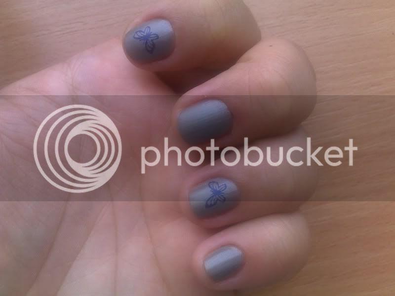 konad,nails,grey,matte,blue,butterfly