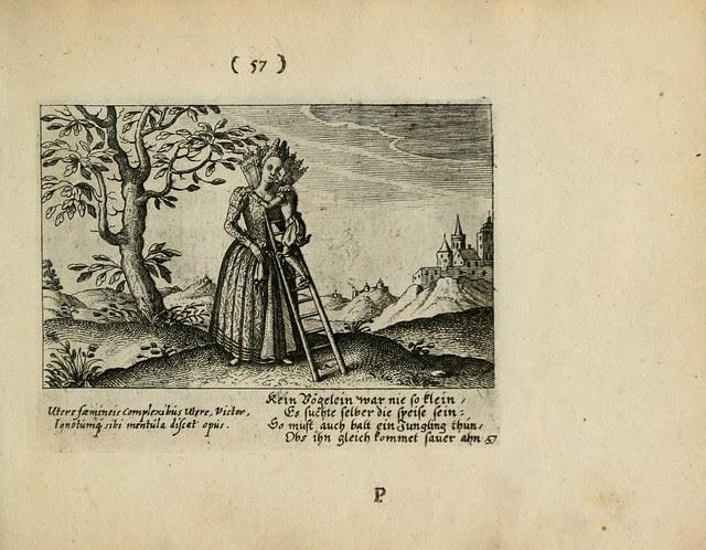 short king climbing ladder up to kiss queen (engraving)