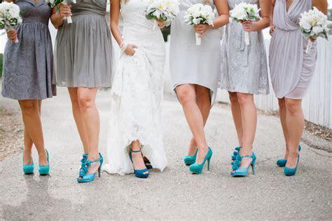Gray bridesmaid dresses with bright aqua shoes