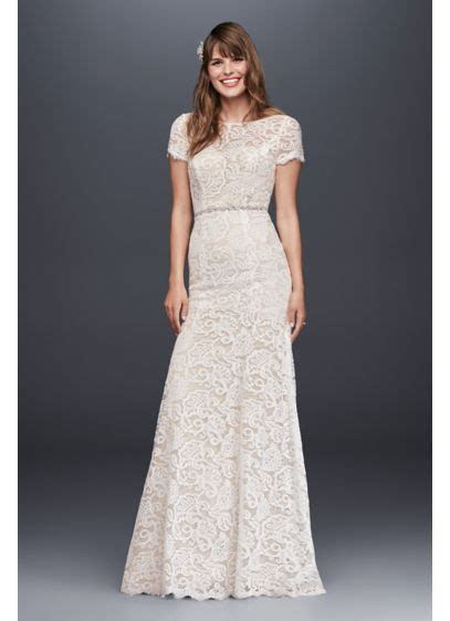 Lace Wedding Dress with Short Illusion Sleeves   David's