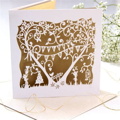 golden wedding anniversary laser cut card by the