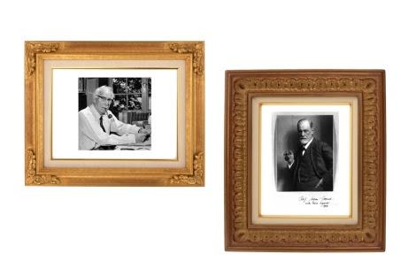 Dos retratos de Carl Gustav Jung y Sigmund Freud.