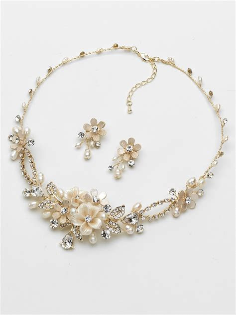 Floral Rhinestone Gold Wedding Jewelry Set   Shop Bridal