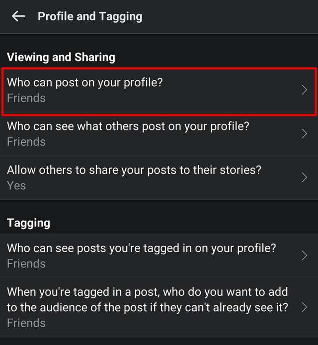 Profile and tagging