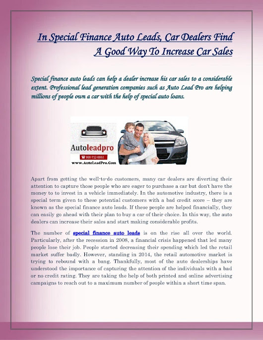 In Special Finance Auto Leads, Car Dealers Find a Good Way to Incre...