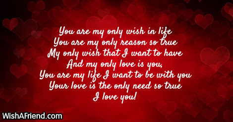 You Are My Only Wish In Sweet Love Saying