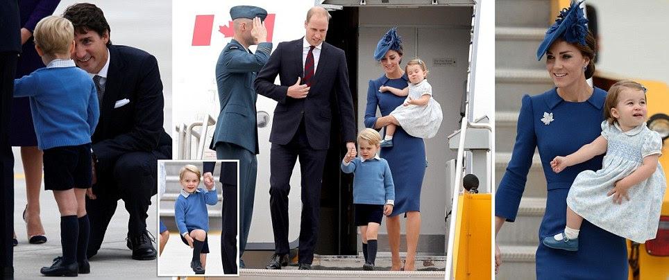 Kate Middleton, o príncipe William e seus filhos pousar no Canadá para viagem real