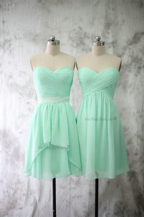 short  shoulder mint chiffon bridesmaid dress