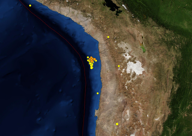 Image: A screenshot of a USGS map showing earthquakes off the northern coast of Chile in the past seven days.