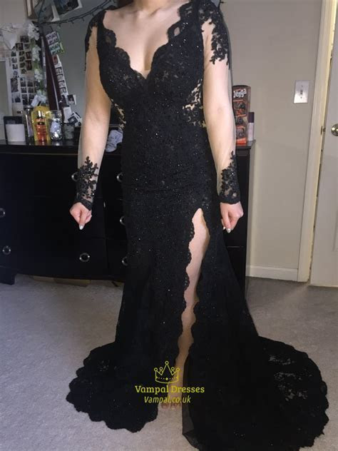 Black V Neck Sheer Long Sleeve Lace Prom Dress With Side