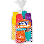 Hefty Easy Grip Disposable Plastic Party Cups, Assorted, 16 oz - 100 count