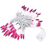 Novelty Lights 50 Light Christmas Mini Light Set, White Wire, 11' Long, Purple