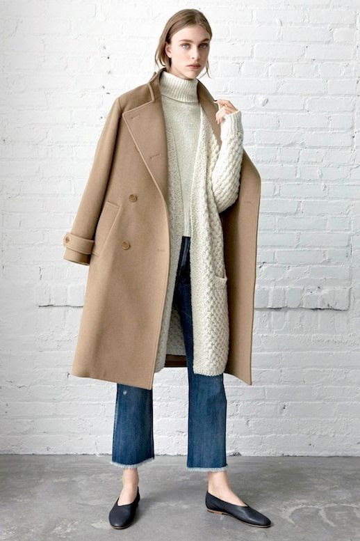 Le Fashion Blog Fall Neutral Layered Look Cream Turtleneck Sweater Vince Camel Coat Long Cardigan Raw Hem Jeans Black Glove Style Flats Via Nordstrom