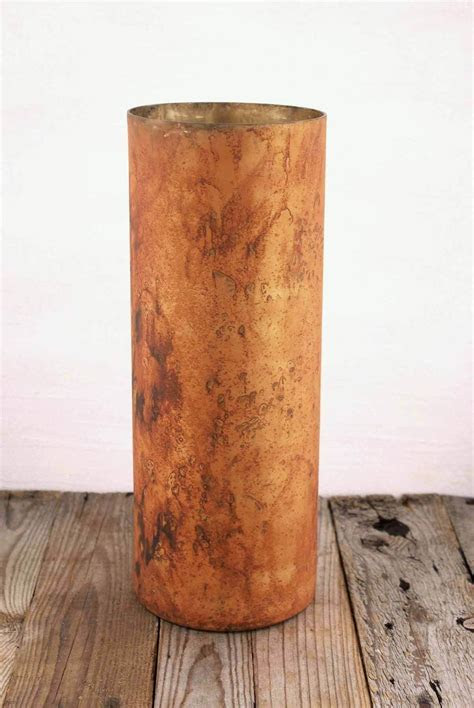 Marbled Cylinder Vase Copper 16.5in