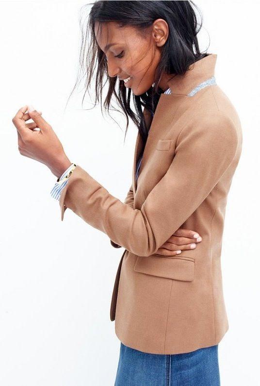 Le Fashion Blog Chic Easy Work Style Fall Looks Pop Collar Camel Blazer Striped Shirt Via JCrew