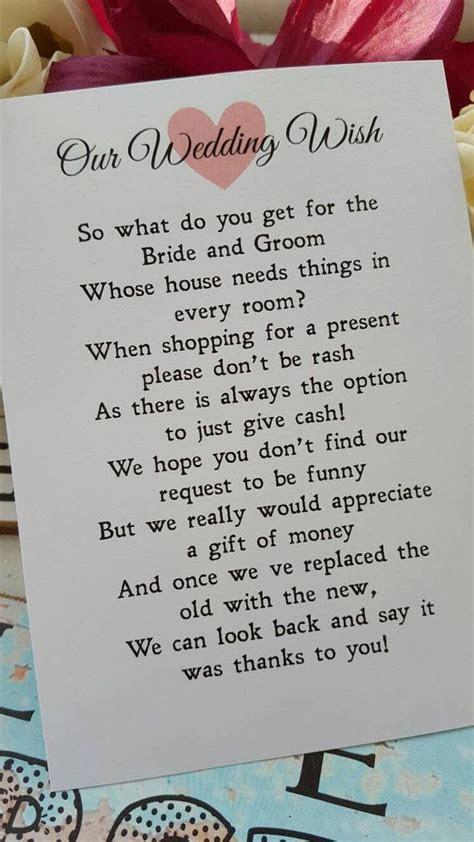 Wedding Money Poem x 50 by LittleMagicPeanut on Etsy