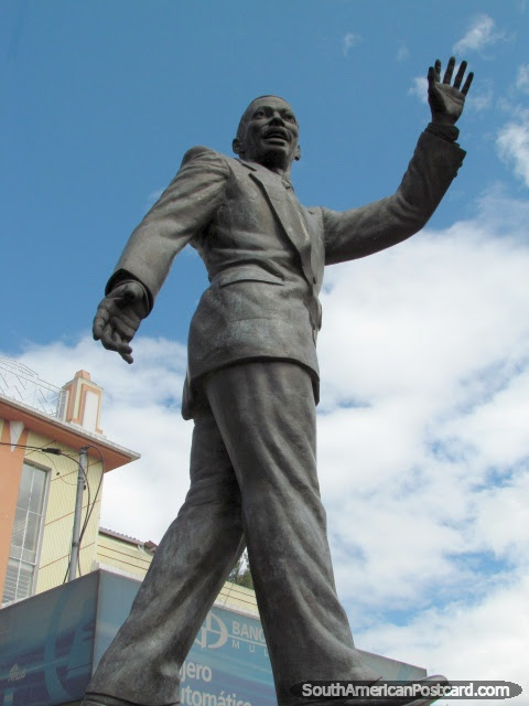 Lawyer Jaime Hurtado Gonzalez monument in Quito New Town. Ecuador.