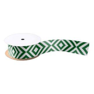 Green and White Chevrons Satin Ribbon