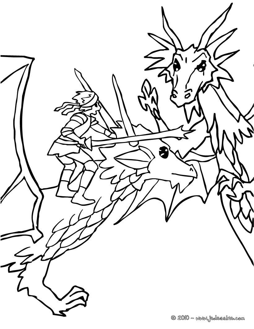 dragon et chevalier attaquent un méchant dragon Coloriage Coloriage GRATUIT Coloriage PERSONNAGE IMAGINAIRE
