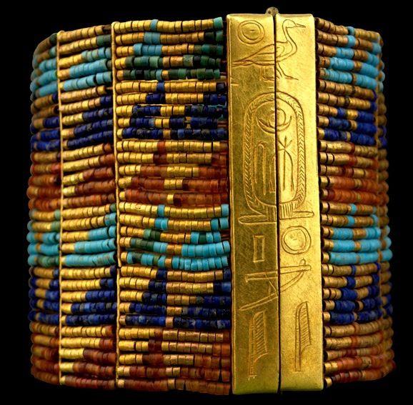 Ancient Egyptian bracelet...gold, lapis, carnelian, turquoise