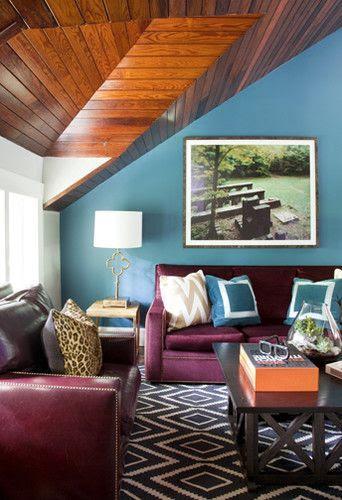 Turquoise Walls Graphic Rug Burgundy Merlot Sofa Liz