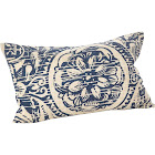 """Saro Lifestyle Montpellier Collection Floral Distressed Design Down Filled Cotton Throw Pillow/0008.NB1423B 14"""" x 23"""" Navy Blue"""