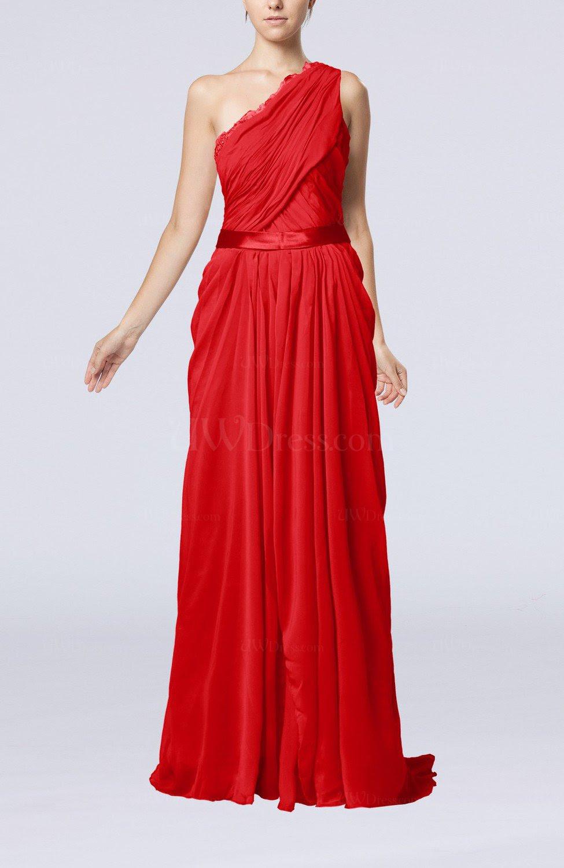 red elegant sheath one shoulder zipper chiffon ribbon