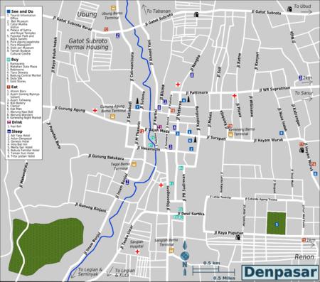 Detail Location Map of Denpasar Bali for Visitor,Denpasar Bali Location Map,Denpasar Accommodation Hotels Destinations Attractions Map,Taman Wedhi Budaya Cultural Centre, Sidik Jari Museum, Maospahit Temple/Pura Maospahit, Jagatnata Temple(Pura Agung Jagatnata), Palace of Satria and the Royal Temples, Puputan Park(Lapangan Puputan Margarana), Museum Negeri Propinsi Bali(Bali Museum) and Puputan Square(Alun-Alun Puputan),things to do in denpasar city interactive street map tourist