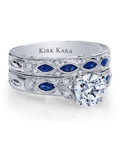 Kirk Kara blue sapphire Dahlia wedding set www.bengarelick