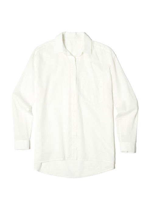 A breezy white button-down can be styled in a ton of different ways: tuck, button, or knot it (or leave it open to fly freely in the breeze). Everlane The Relaxed Cotton Shirt, $65; everlane.com