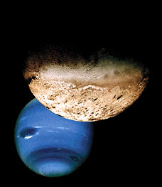 The blue clouds of Neptune are mostly frozen methane, the main chemical in natural gas -- a fuel for heating and cooking on Earth. The other object shown is Neptune's moon Triton.