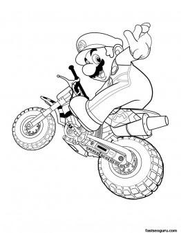 printable super mario with motorcycle  free printable