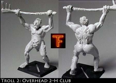 Adult male troll brandishing 2-H club