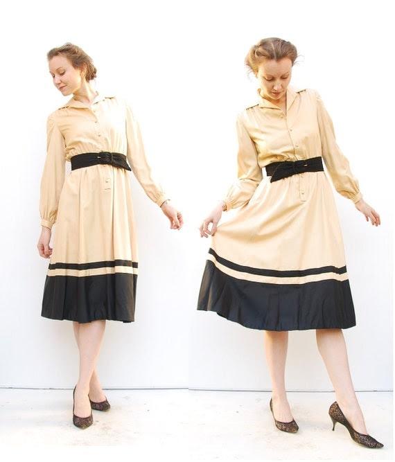 70s Secretary Dress - Silk Dress - Office Fashion - Champagne Dress - British Crown Colony Dress - 4 6 S