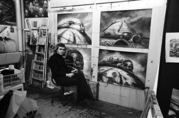 H R Giger designing concepts for Alejandro Jodorowsky's unmade adaptation of Frank Herbert's novel,  Dune.