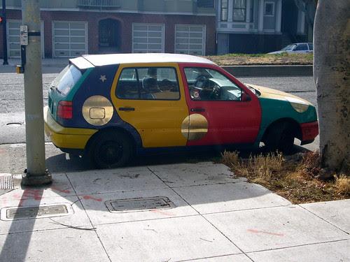 mutilcolored volkswagen