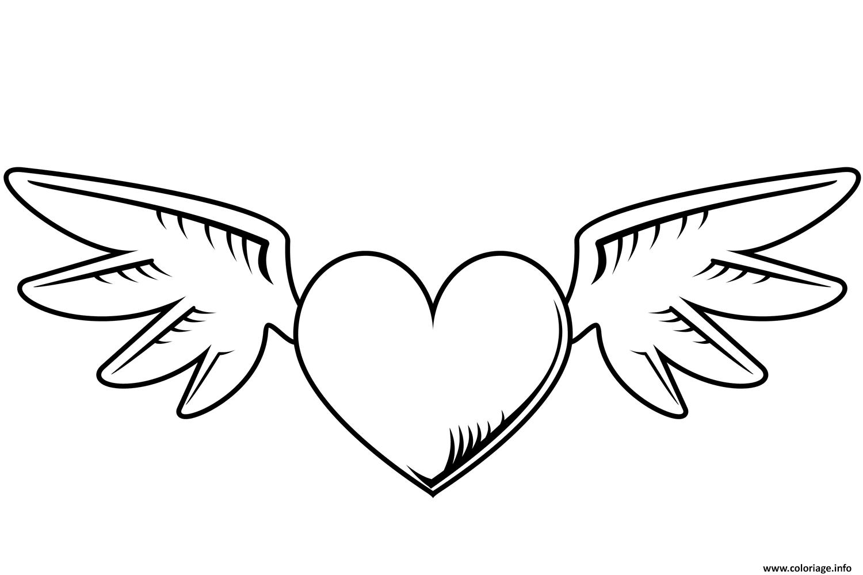 Coloriage Coeur Avec Des Ailes St Valentin Dessin  Imprimer