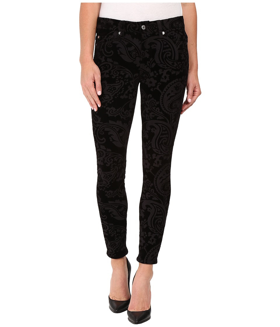 7 For All Mankind - The Ankle Skinny w\/ Contour Waist Band in Black Velveteen Paisley (Black Velveteen Paisley) Women's Jeans