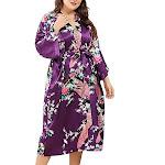 Medium Length Womens Robes - 2 to 18 - Floral Bride & Bridesmaid Robes, Purple