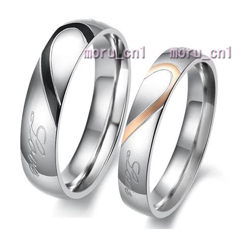 Classic Heart Shape Matching Wedding Bands Titanium Couple