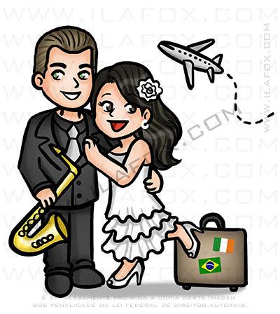 caricatura fofinha, mini caricatura, caricatura casal, viagem, avião, mala, by ila fox