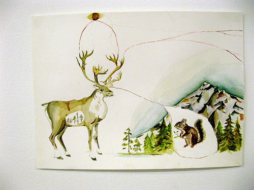 Caribou and squirrel