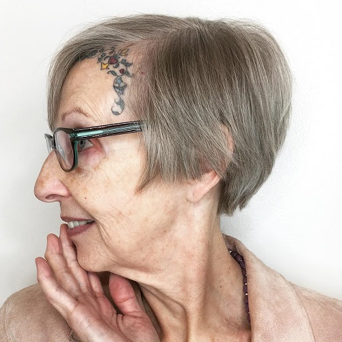 over 70's short gray hairstyle