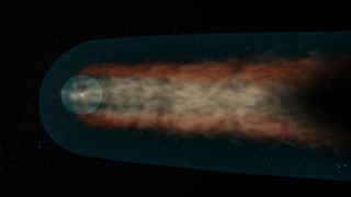 High resolution still from animation of the heliotail - side view Credit: NASA