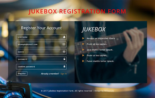 Jukebox Registration Form Flat Responsive Widget Template