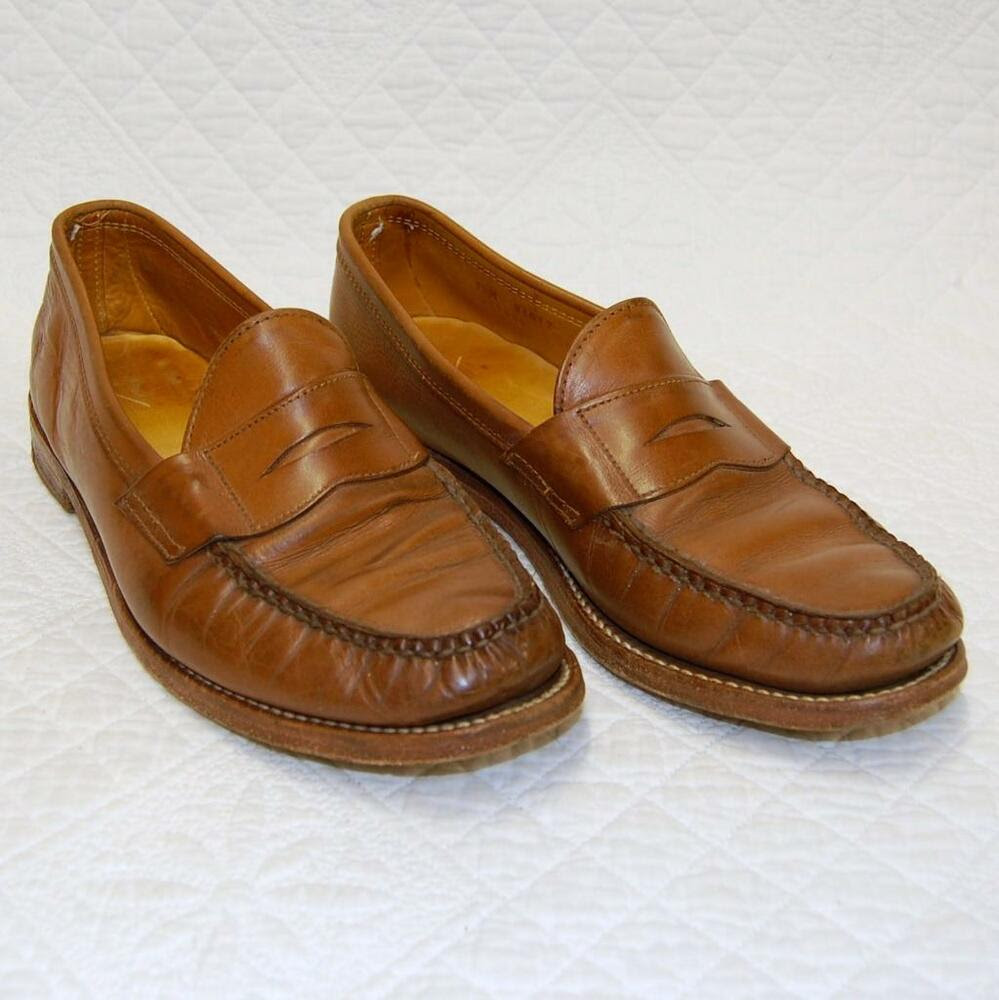 FRYE Mens Light Brown Leather Penny Loafers Shoes US Shoe ...
