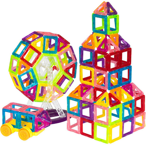 Best Choice Products 158-Piece Kids Clear Magnetic Building Block Tiles Toy Set - Multicolor