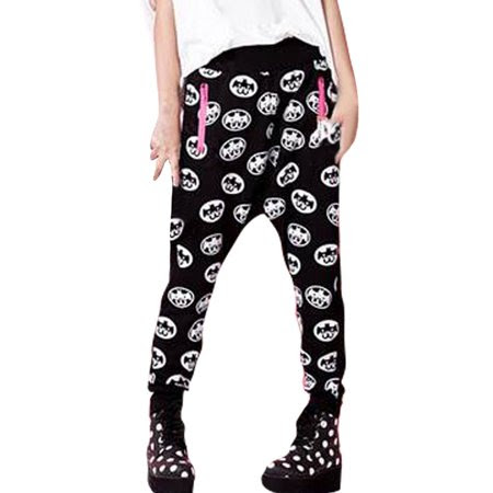 Women's Black Elastic Waist Cartoon Prints Stretchy Harem Pants (Size S \/ 4)