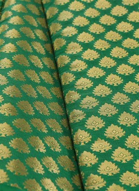 Buy Green Art Silk Brocade Fabric, Brocade, blended